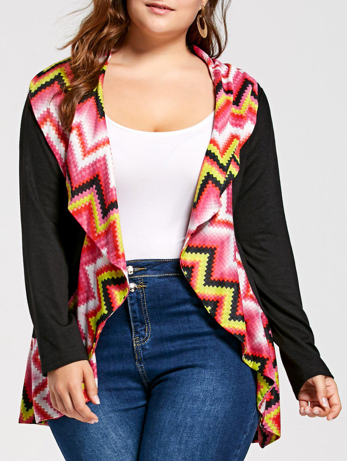 Plus Size Colorful Zig Zag Long Sleeve Cardigan - COLORMIX 5XL