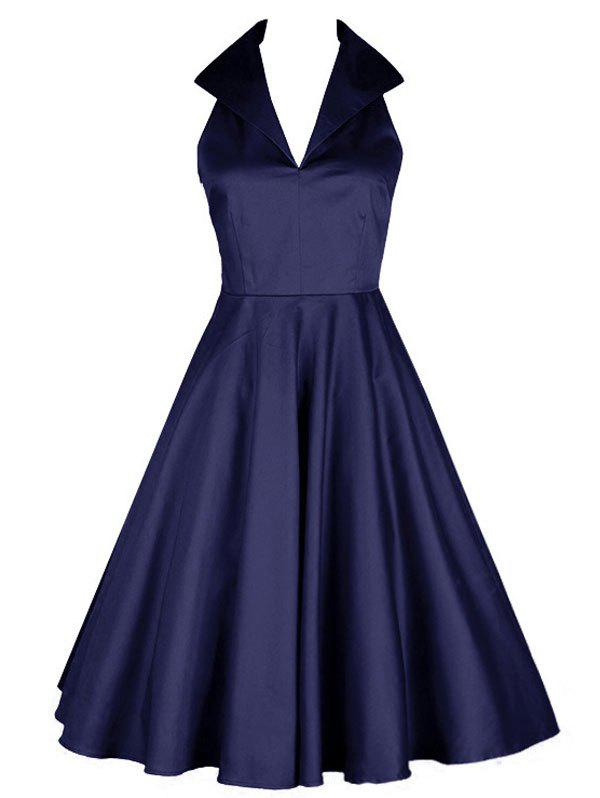 Vintage Turn Down Collar Pin Up Dress - DEEP BLUE XL