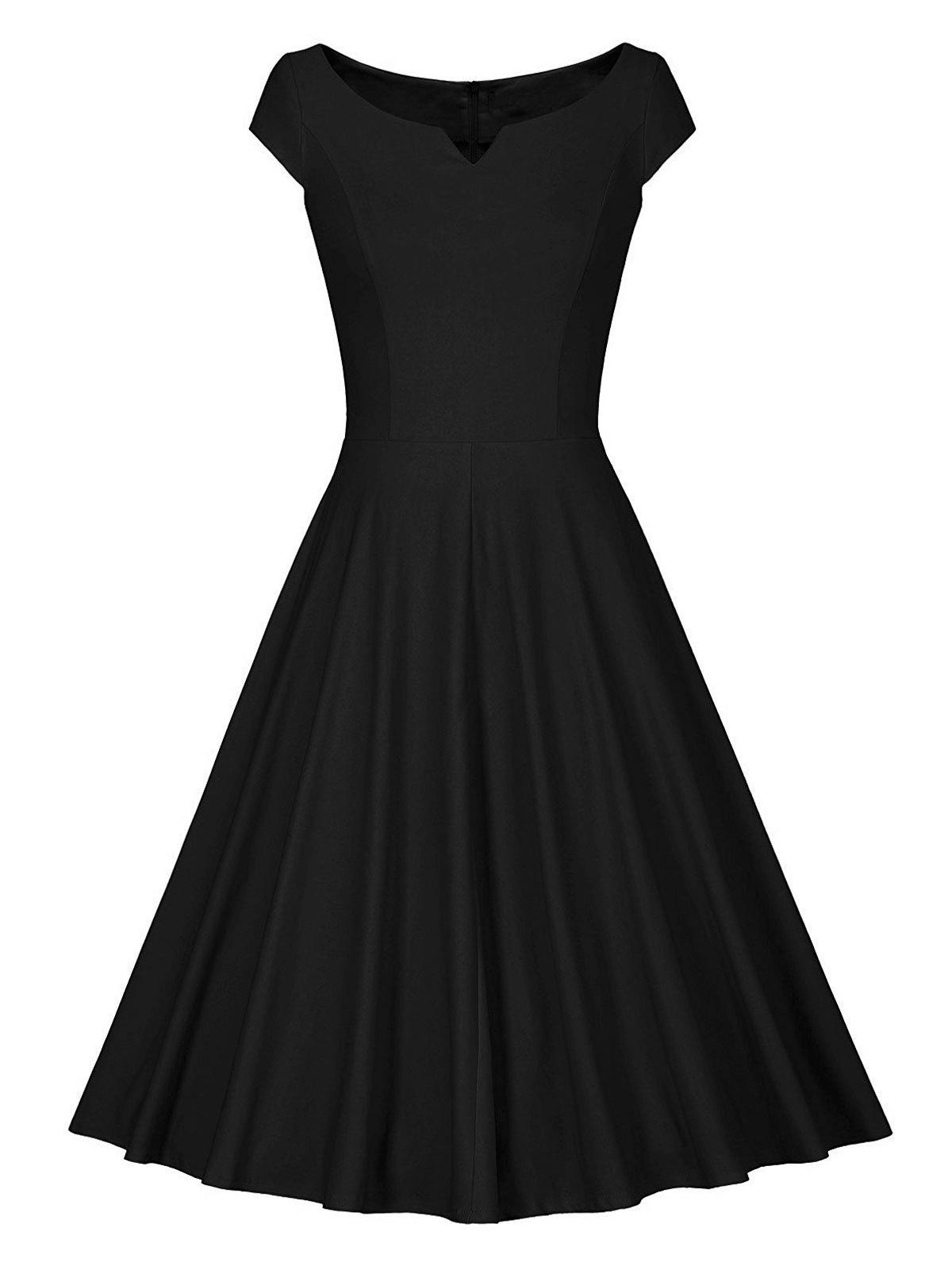 Retro V Neck Skater Fit and Flare Dress solid v neck slim skater dress