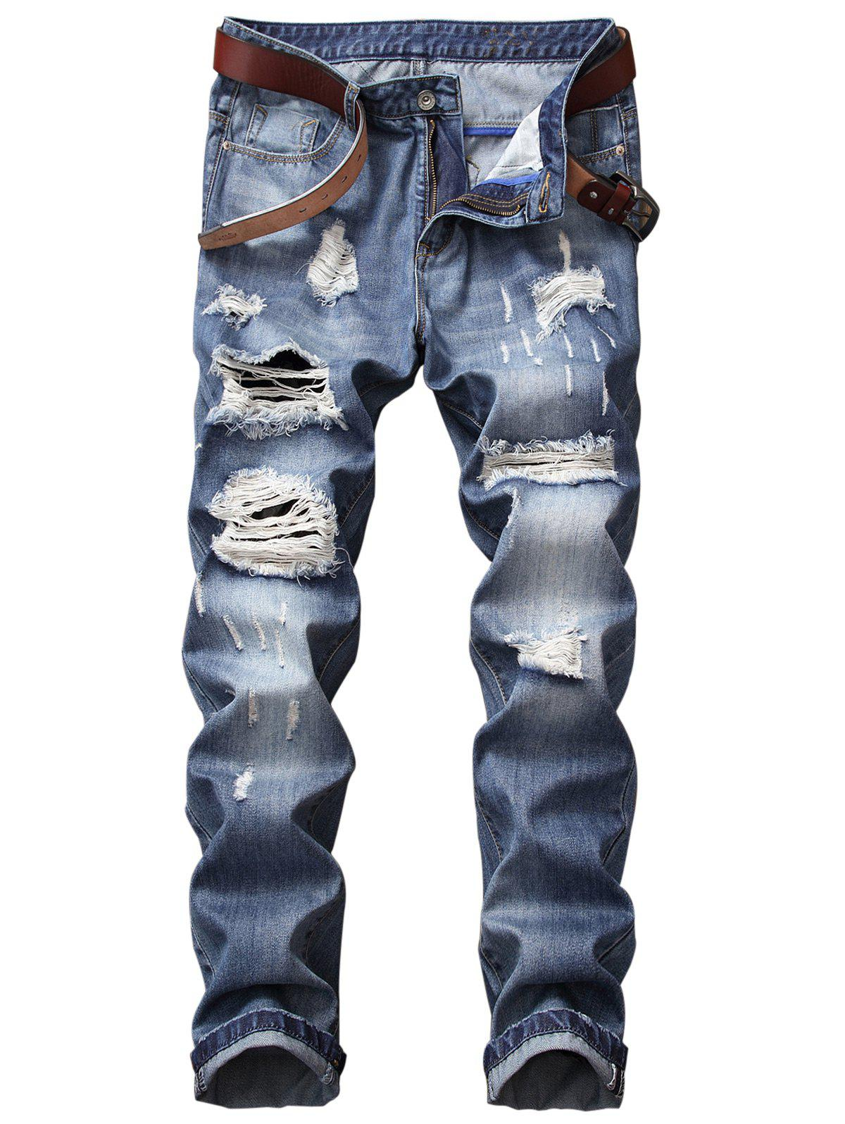 Bleached Effect Straight Leg Distressed Jeans straight leg distressed embroidered jeans