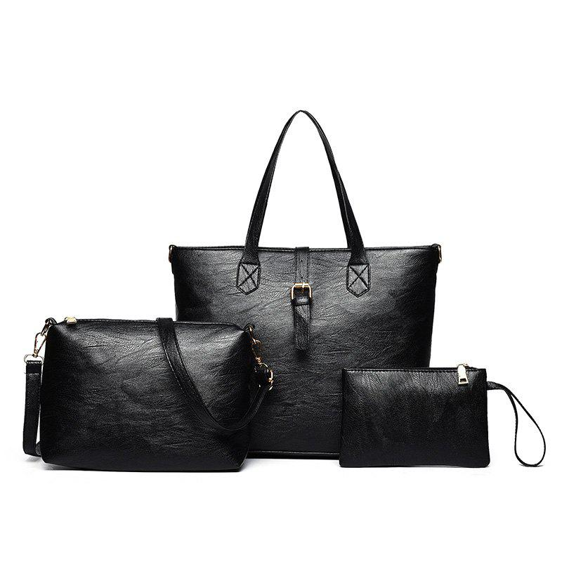 PU Leather Three Pieces Buckle Strap Shoulder Bag Set - BLACK