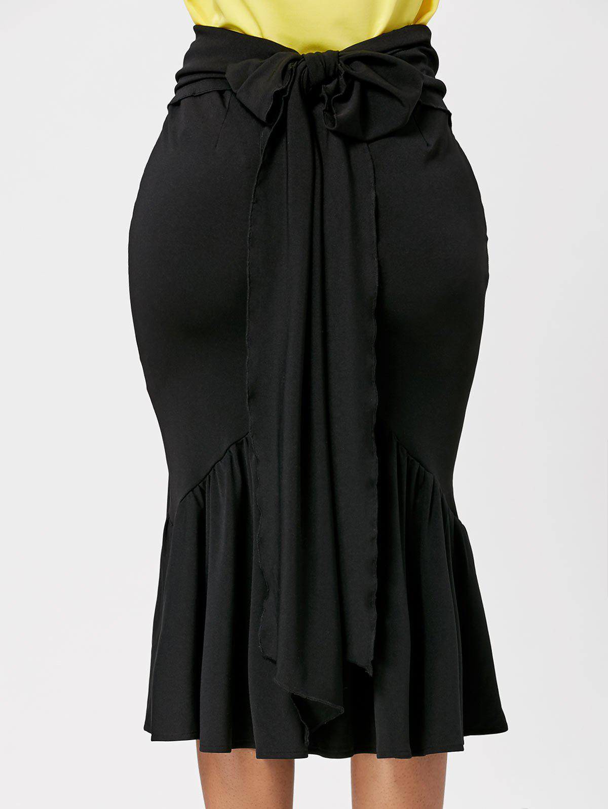 Belted Midi Mermaid Skirt - BLACK M