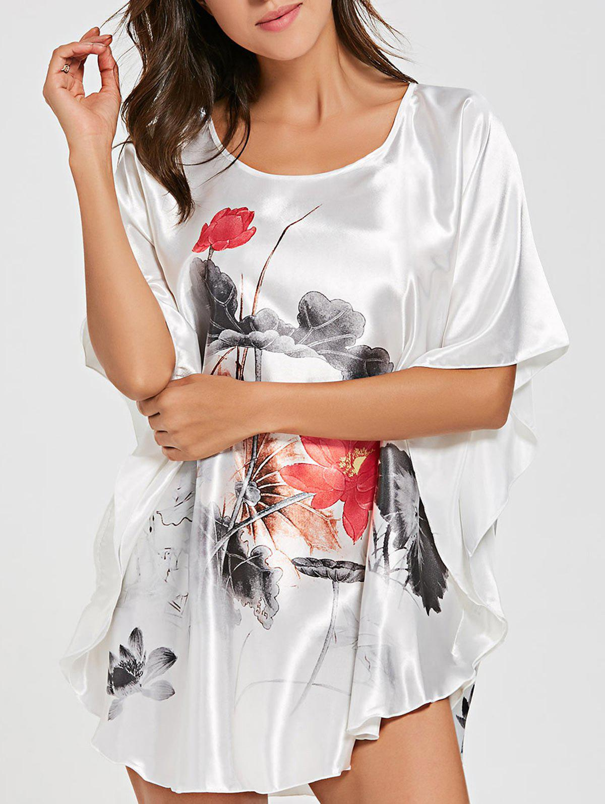 Batwing Sleeve Satin Tunic Pajama Top - WHITE ONE SIZE