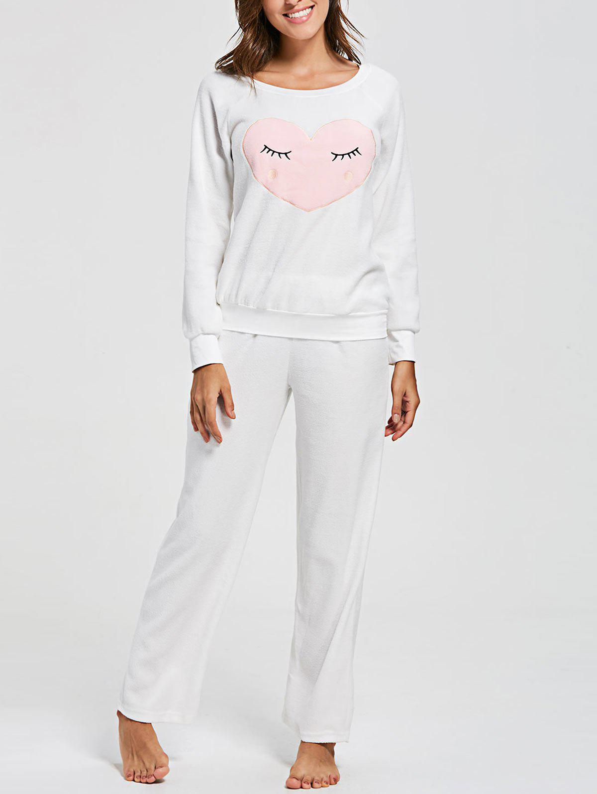 Heart Panel Fleece Sweatshirt with Pants Loungewear Set - WHITE L