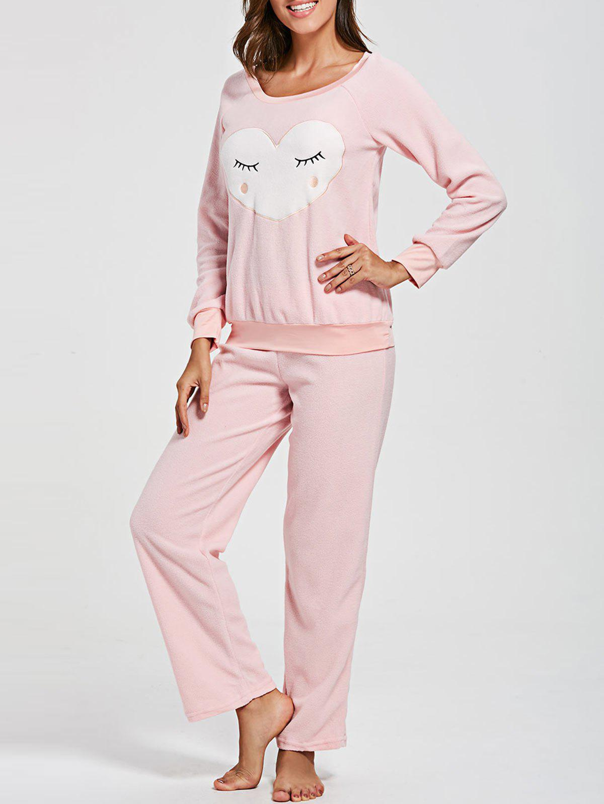 Sweat-shirt en molleton de coeur avec un ensemble de salon de pantalons - ROSE PÂLE S