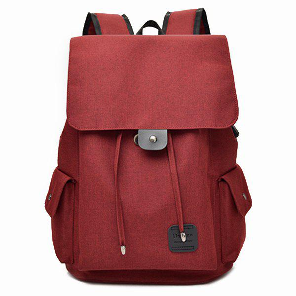 Drawstring USB Interface Backpack - RED