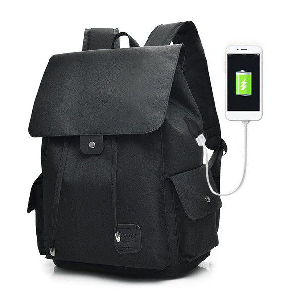 Drawstring USB Interface Backpack nylon usb interface zippers backpack