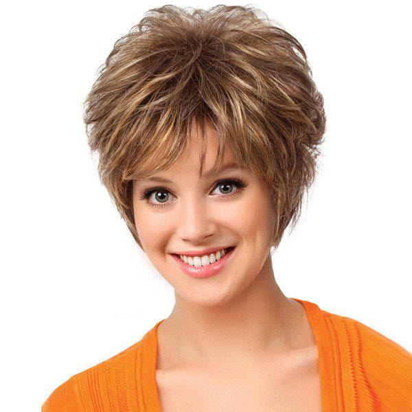 Short Inclined Bang Shaggy Layered Natural Straight Synthetic Wig short pixie cut capless straight inclined bang synthetic wig