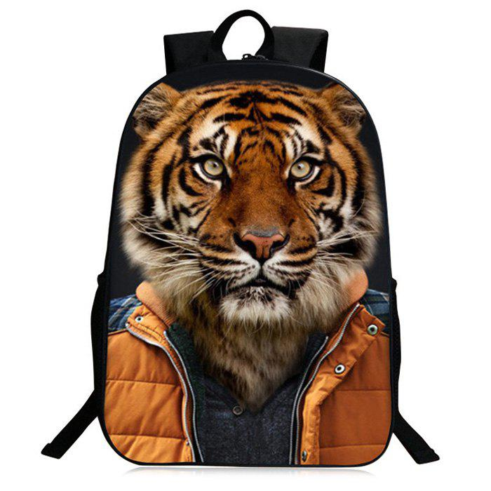 3D Animal Pattern Zipper Backpack - GOLD BROWN