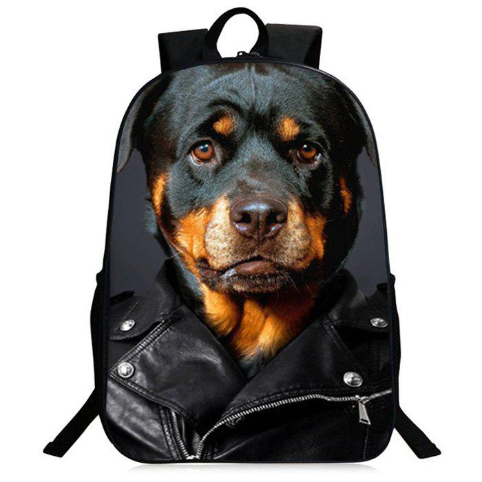 3D Animal Pattern Zipper Backpack - BLACK