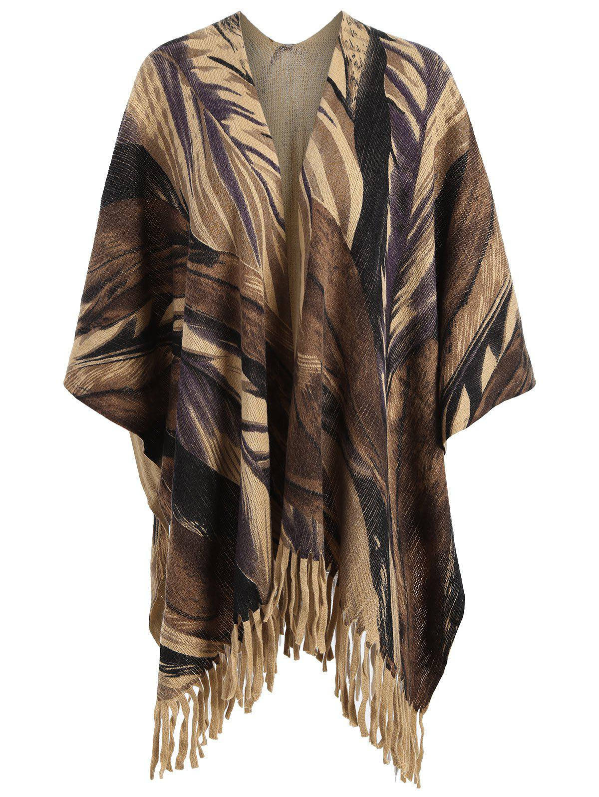 Plus Size Printed Fringed Knit Cape - BROWN ONE SIZE