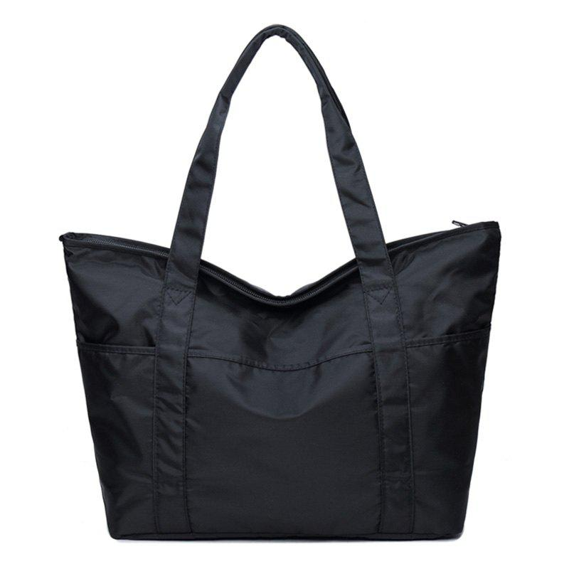 Casual Stitching Nylon Shoulder Bag - BLACK