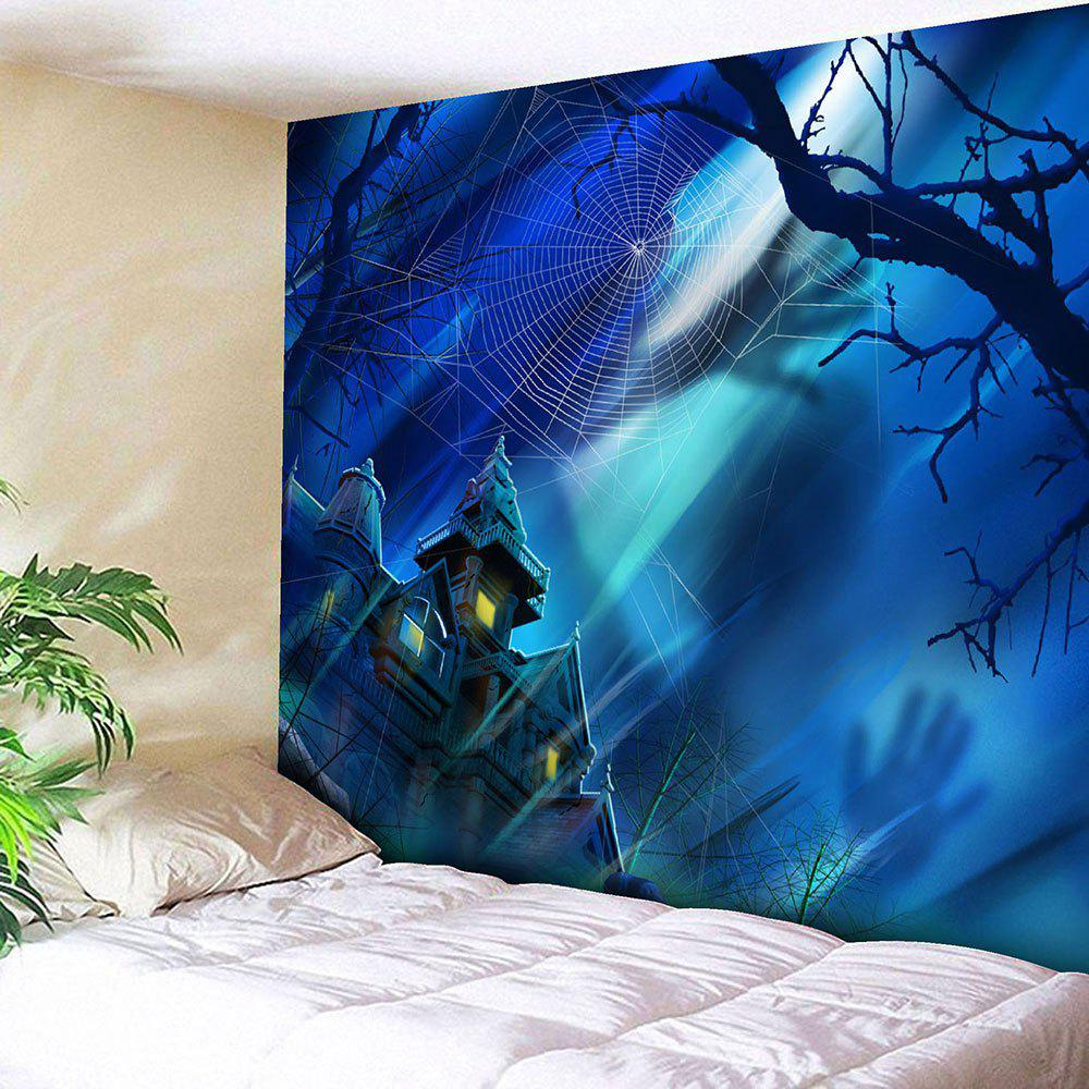Halloween Spider Web Castle Wall Tapestry halloween spider web print wall tapestry