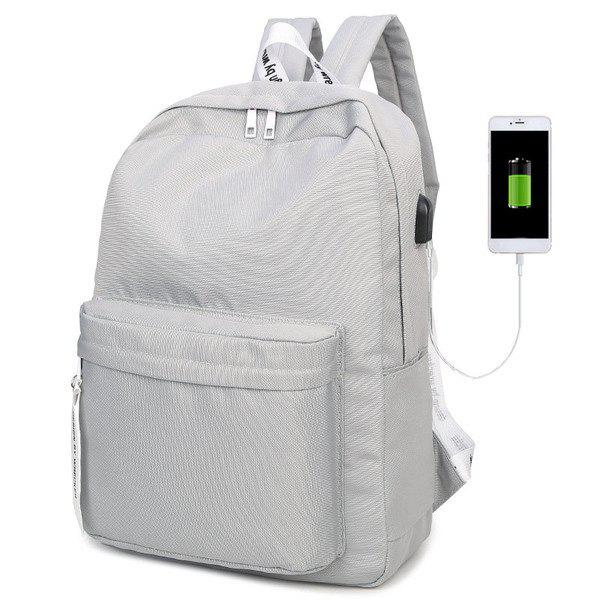 Nylon USB Interface Zippers Backpack nylon usb interface zippers backpack
