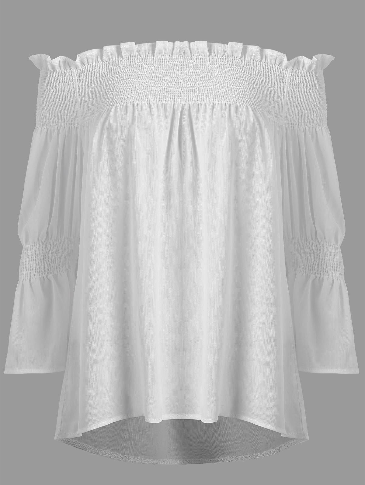 Plus Size Off The Shoulder Smocked Blouse - WHITE 5XL