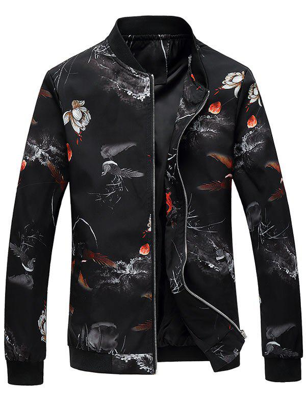 Zip Up Lotus Flower Printed Bomber Jacket - BLACK XL