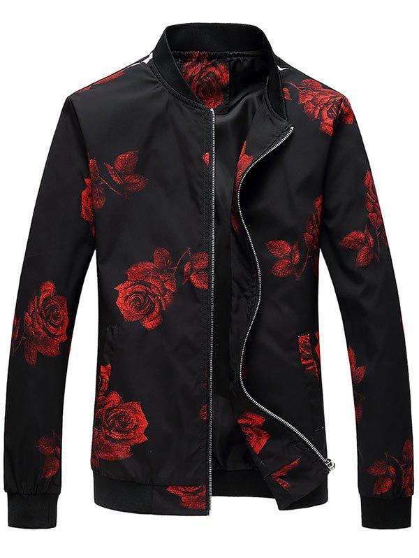 Zip Up Rose Printed Bomber Jacket - RED 6XL