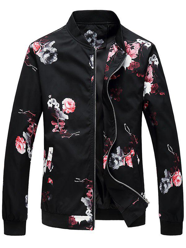 Zipper Up Flower Pattern Bomber Jacket - RED 4XL