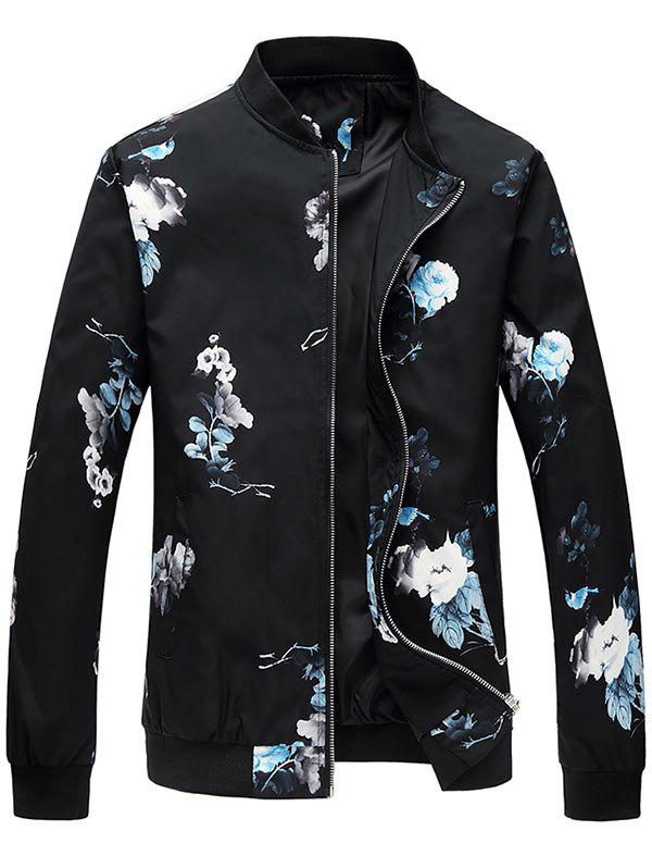 Zipper Up Flower Pattern Bomber Jacket - BLUE 3XL