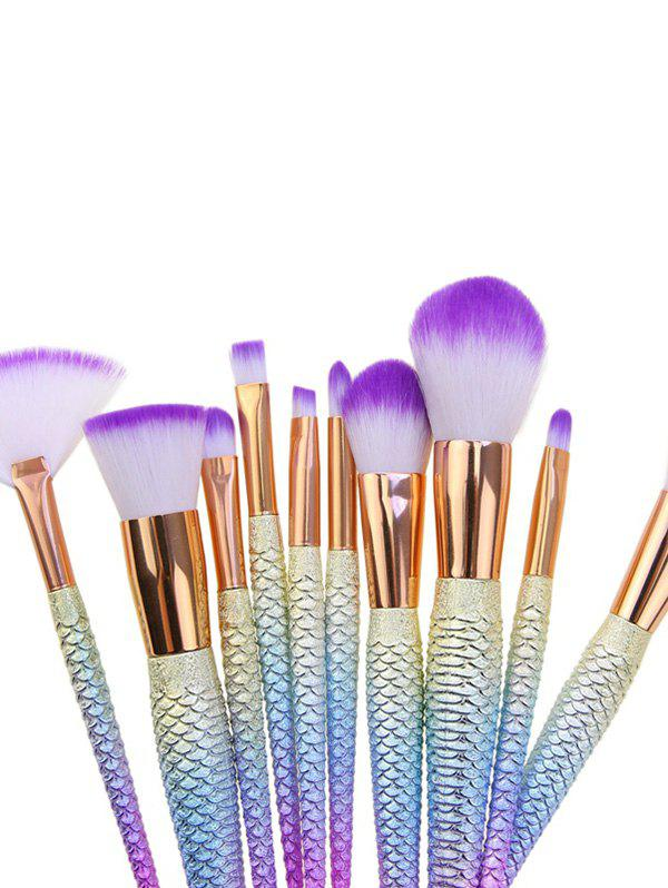 10Pcs Ombre Hair Mermaid Tail Makeup Brushes Kit - PINKISH BLUE