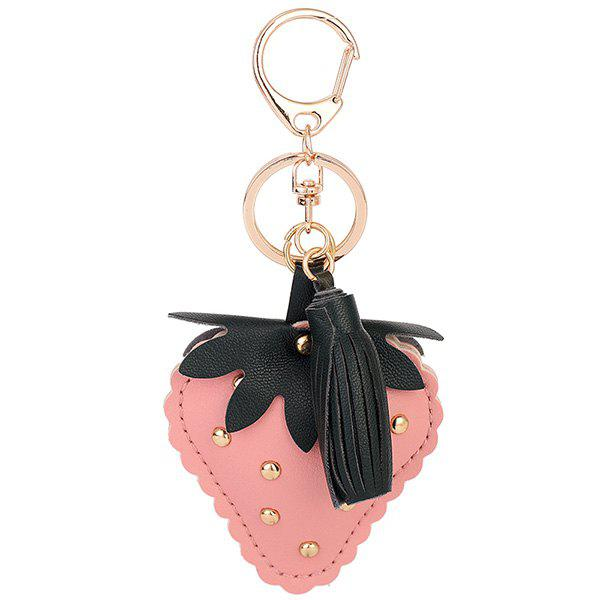 Tassel Rivet Strawberry Shape Keyring - ROSE PÂLE