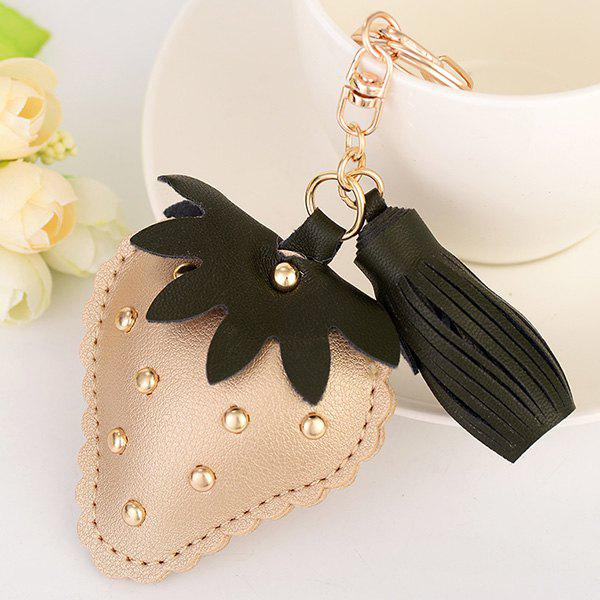Tassel Rivet Strawberry Shape Keyring - GOLDEN