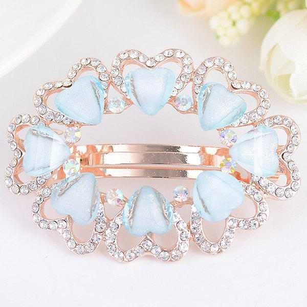 Tiny Heart Rhinestone Embellished Round Design Barrette - BLUE