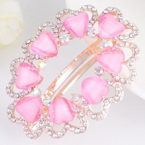 Tiny Heart Rhinestone Embellished Round Design Barrette - Rose Clair