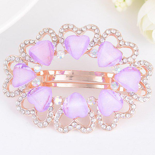 Tiny Heart Rhinestone Embellished Round Design Barrette - PURPLE