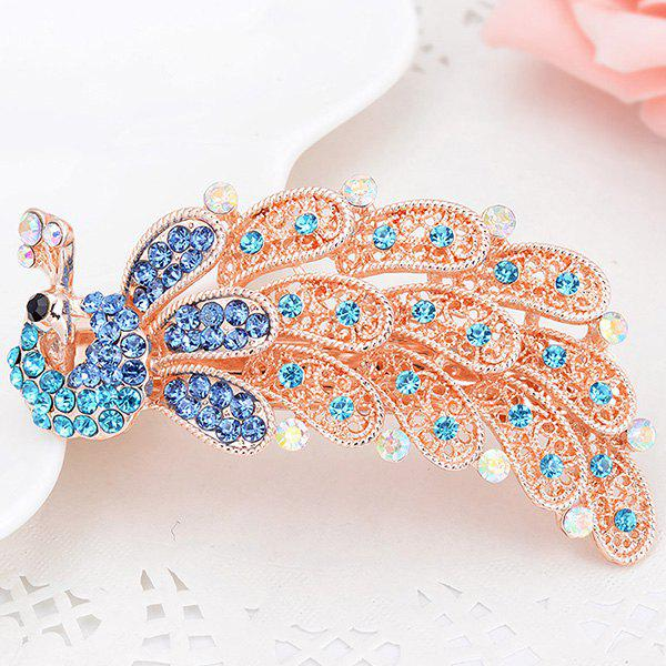 Peacock Shape Artificial Crystal Inlaid Barrette - BLUE
