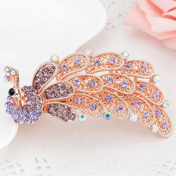 Peacock Shape Artificial Crystal Inlaid Barrette - PURPLE