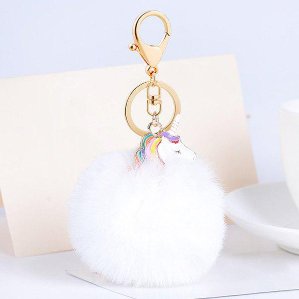 Pompon Puff Ball Pendant Keychain - WHITE