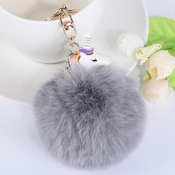 Pompon Puff Ball Pendant Keychain - GRAY