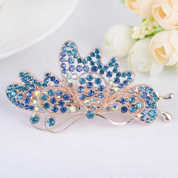 Strass Hollow Out Butterfly Design Barrette - Bleu