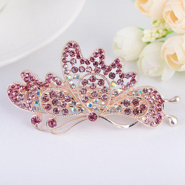 Rhinestone Hollow Out Butterfly Design Barrette - TUTTI FRUTTI
