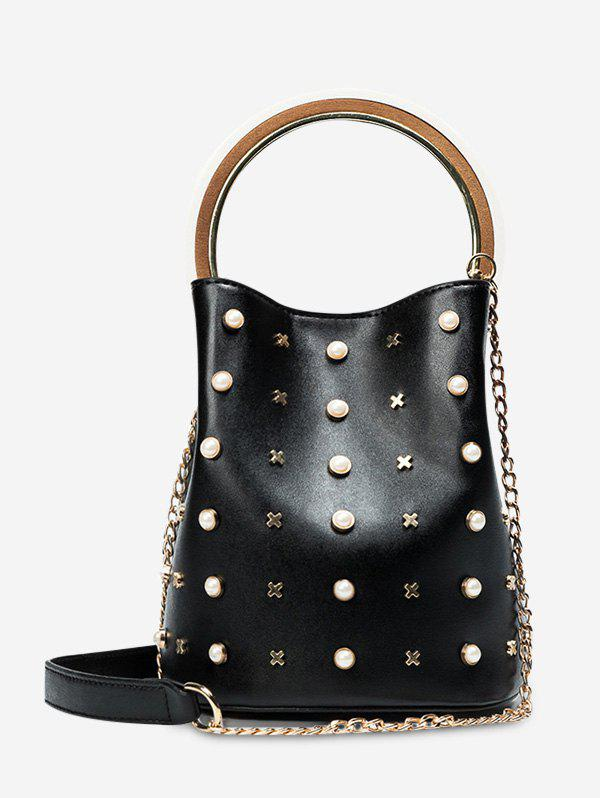 Metal Embellished Faux Pearls Bucket Bag - BLACK