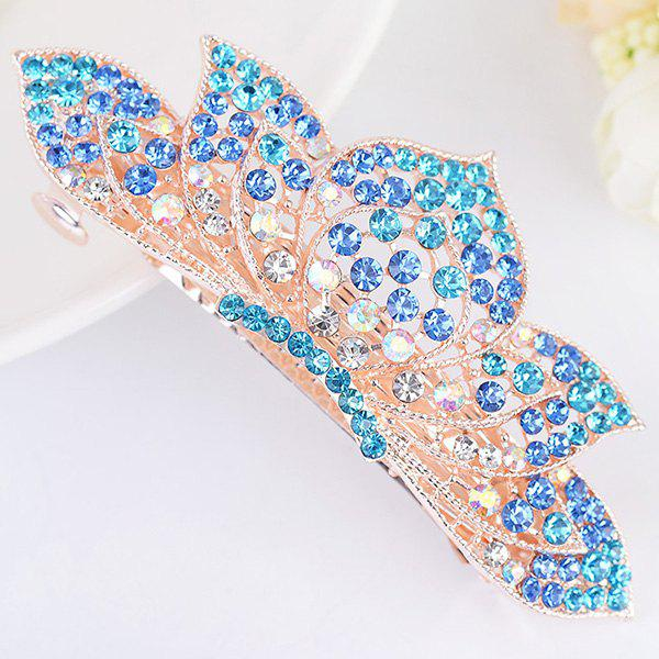 Rhinestone Inlaid Lotus Shape Barrette - BLUE