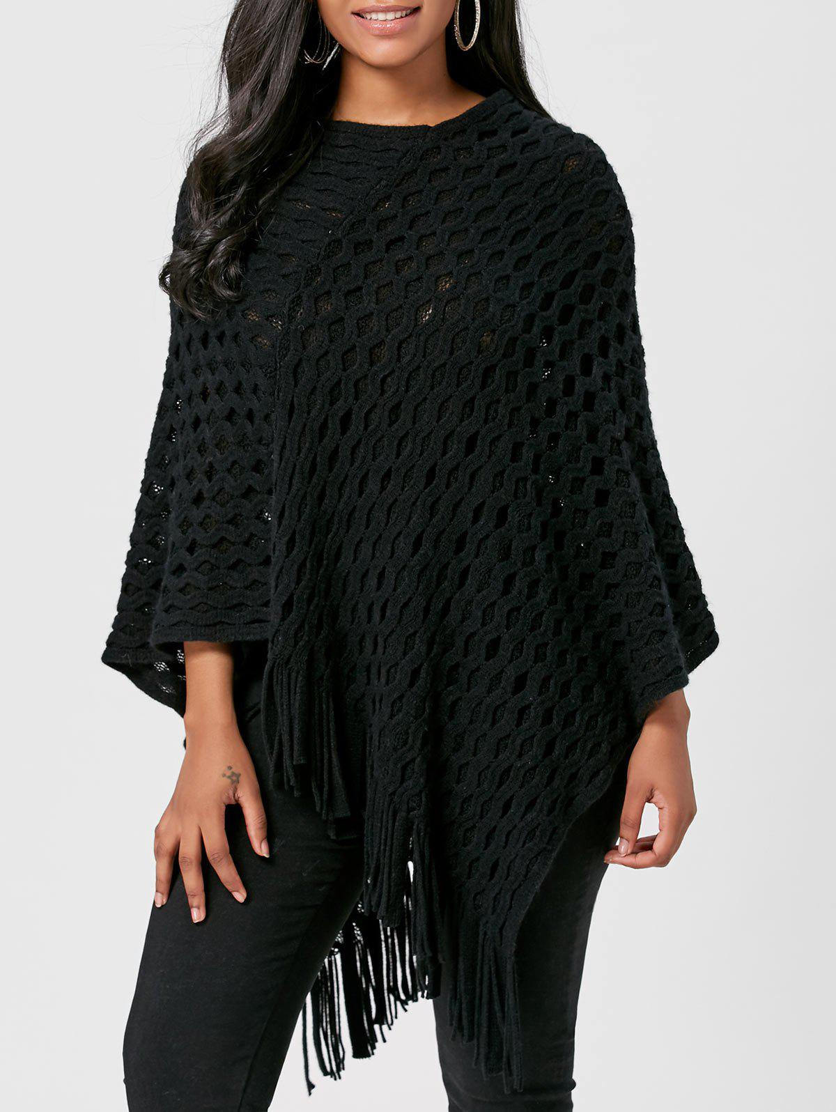 Asymmetric Batwing Fringed Poncho Sweater - BLACK ONE SIZE