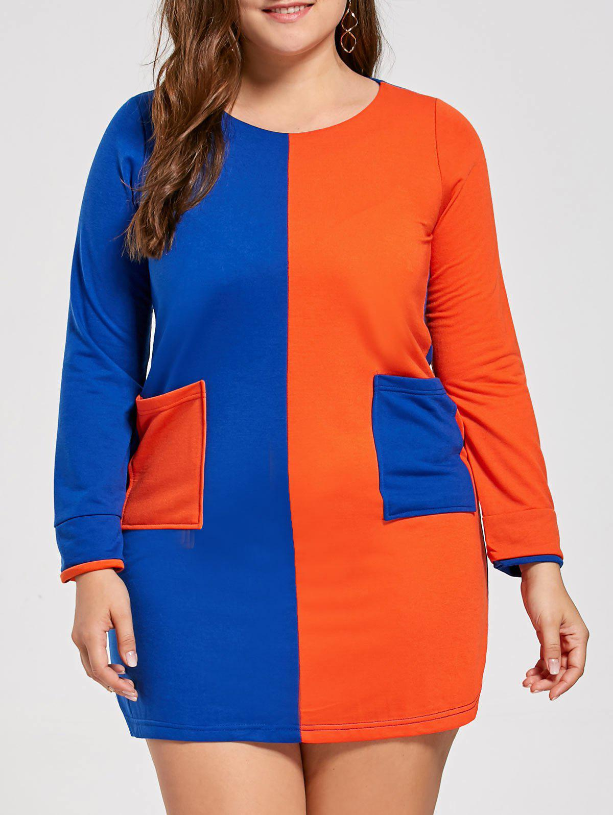 Plus Size Color Block Front Pocket T-shirt Dress - BLUE/ORANGE 4XL