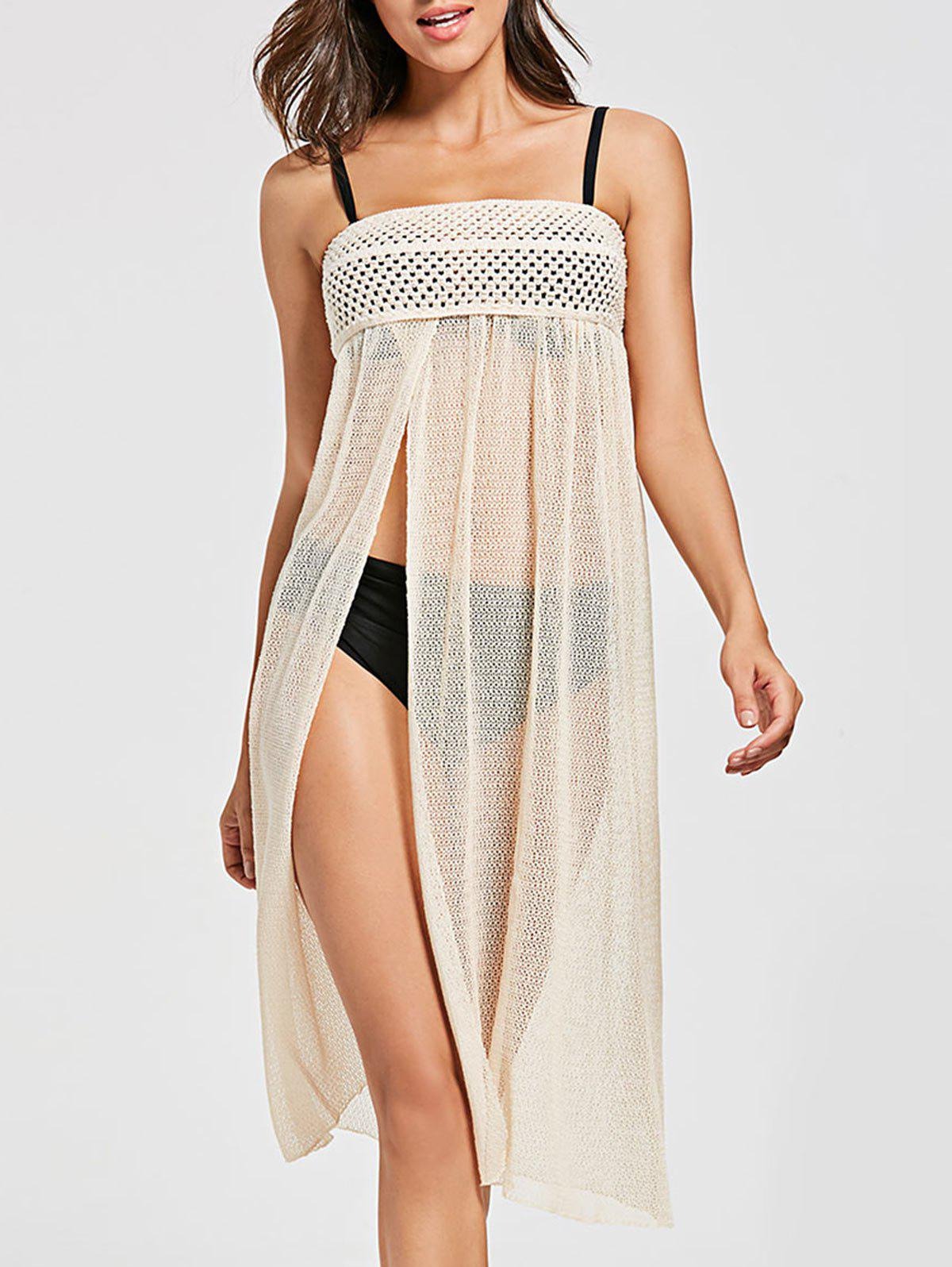 Crochet Slit Convertible Swimsuit Cover Up - BEIGE ONE SIZE