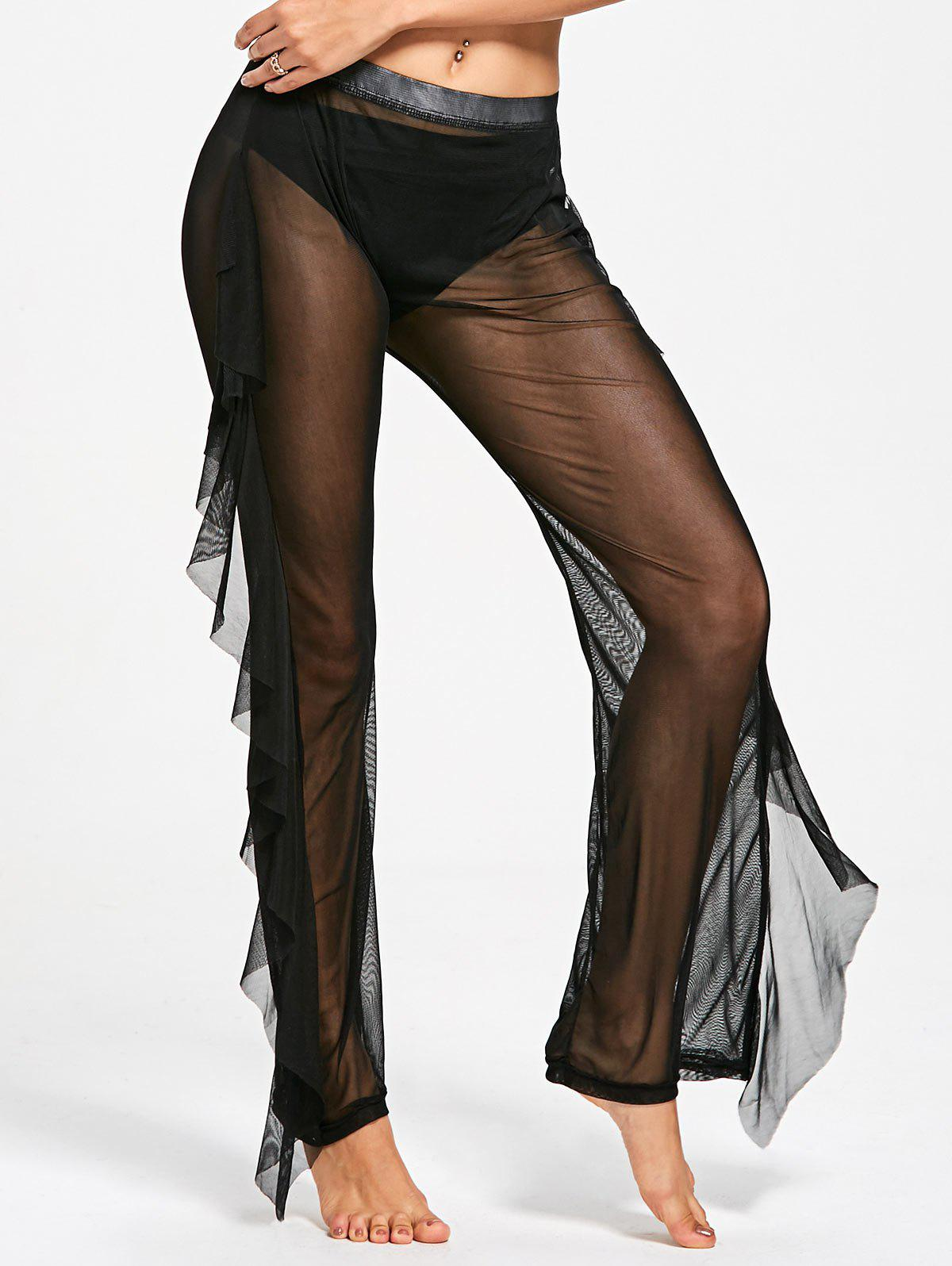Ruffled Mesh See Through Cover Up Pants - BLACK M