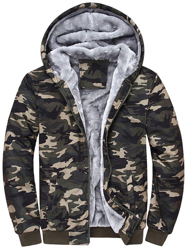 Zip Up Camouflage Hooded Flocking Jacket - CAMOUFLAGE 2XL
