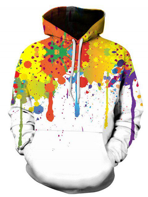 Colorful Splatter Paint Long Sleeve Hoodie - COLORMIX 2XL