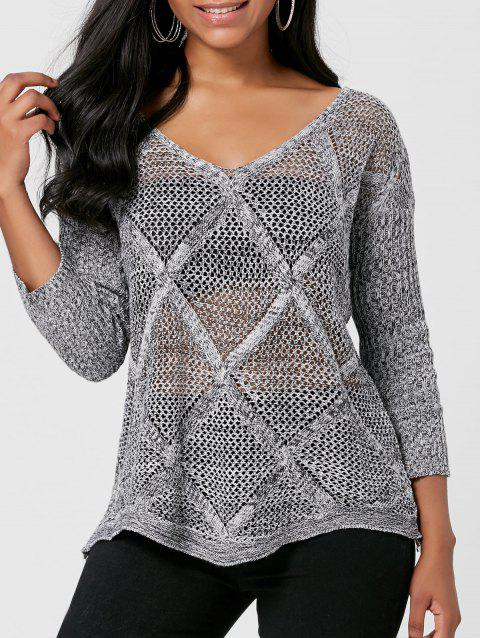 V Neck Openwork Marled Sweater - GRAY ONE SIZE