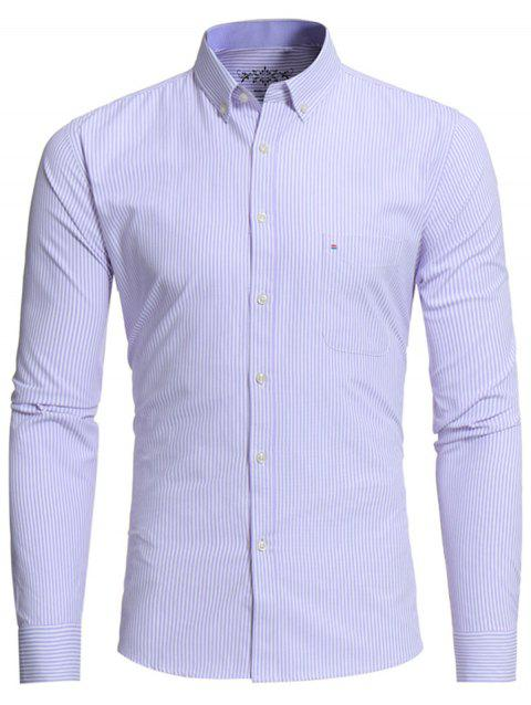 Button Down Embroidered Pocket Stripe Shirt - PURPLE XL