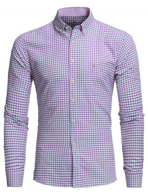 Button Down Embroidered Pocket Plaid Shirt - PURPLE XL