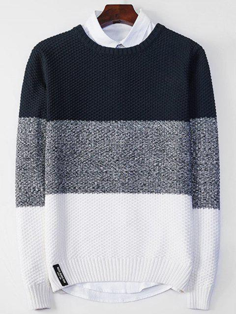 Popcorn Knitted Crew Neck Color Block Sweater - PURPLISH BLUE L