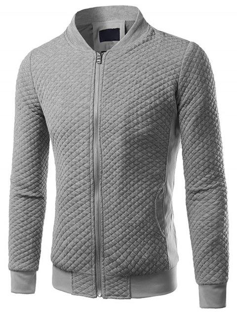 Zip Up Rhombus Gaufrage Veste - Gris Clair 5XL
