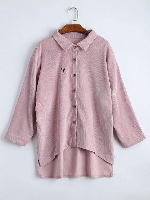 Plus Size High Low Drop Shoulder Jacket - LIGHT PINK 3XL