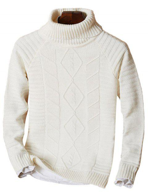 Ribbed Knit Raglan Sleeve Funnel Neck Sweater - OFF WHITE 3XL